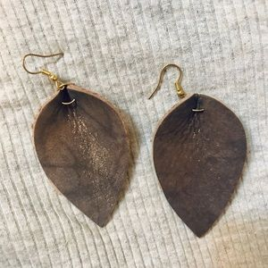 Brown gold sparkles leather earrings